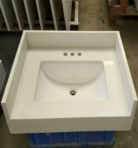 White quartz bathroom basin